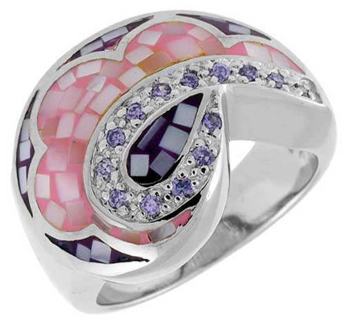 Sterling Silver Natural Shell Mosaic Teardrop Ring CZ Accent, 5/8 inch wide