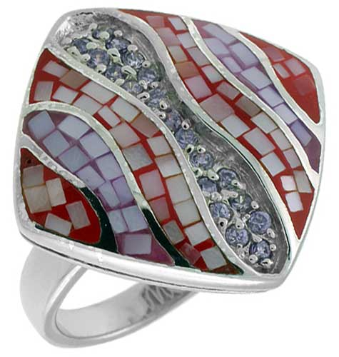 Sterling Silver Natural Shell Mosaic Rhombic Ring CZ Accent, 1 inch wide