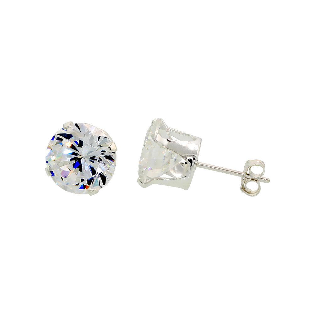 Sterling Silver Cubic Zirconia Earrings Studs 9 mm 4 prong 5.5 carats/pair