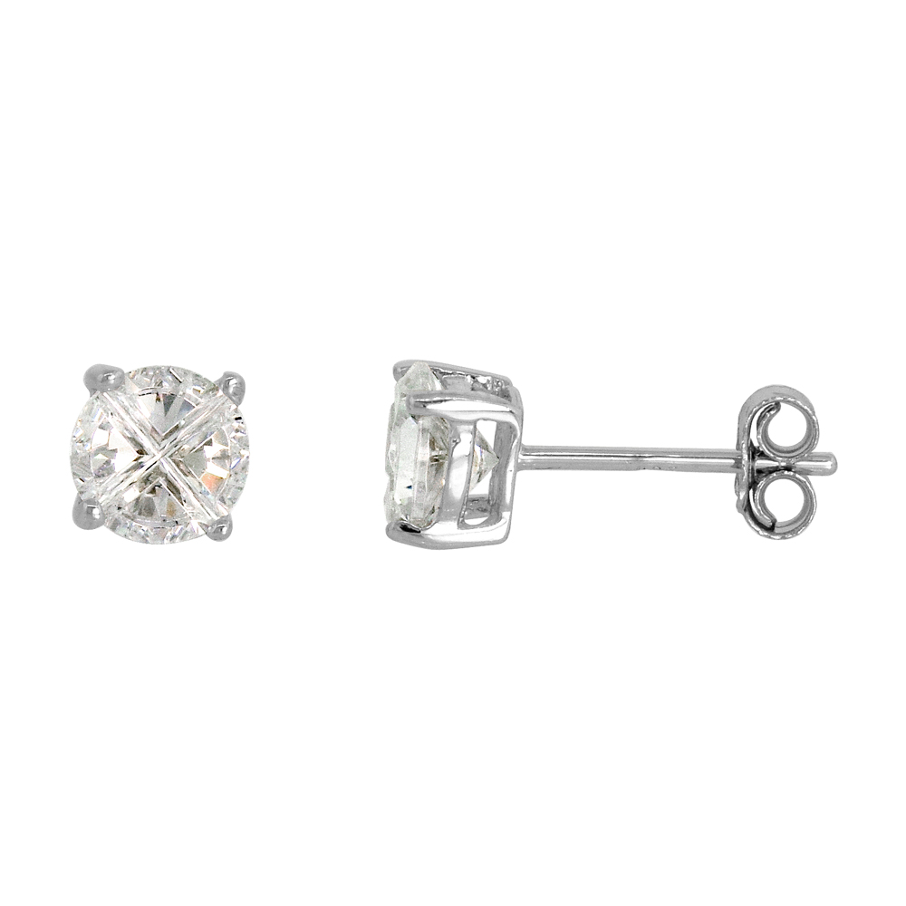 Sterling Silver Cubic Zirconia Invisible Cut Round Earrings Studs 6 mm Basket Set 2 carats/pair