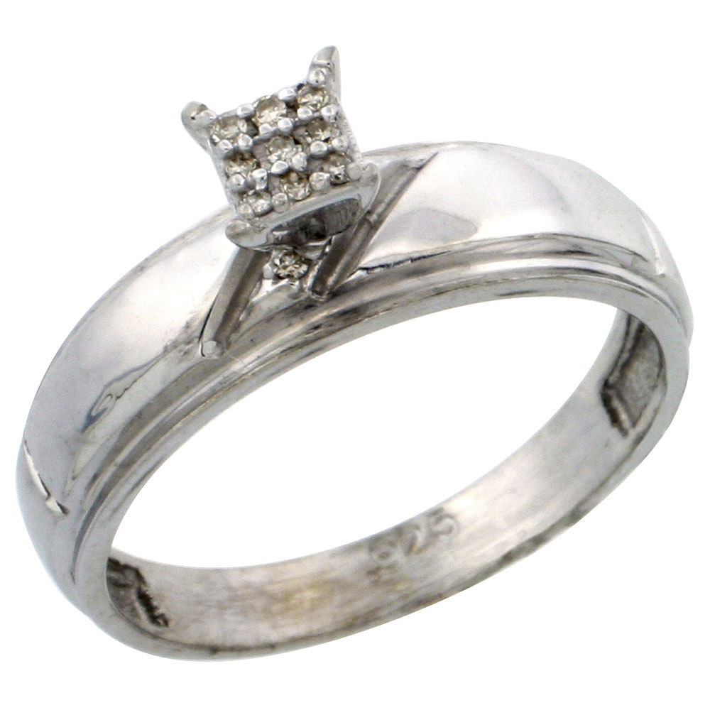 Sterling Silver Diamond Engagement Ring 0.04 cttw Brilliant Cut, 7/32 inch 5.5mm wide