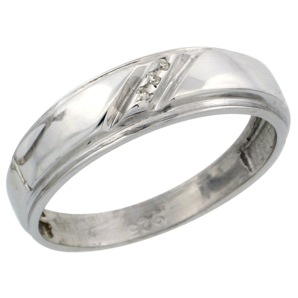 Sterling Silver Ladies Diamond Wedding Band Ring 0.02 cttw Brilliant Cut, 7/32 inch 5.5mm wide
