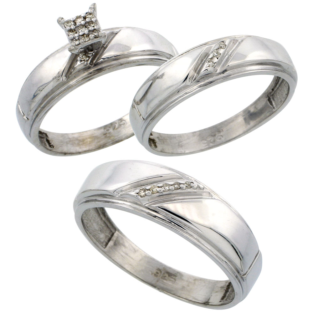 sterling silver diamond trio engagement wedding ring set for him and her 3 piece 7 - Silver Wedding Rings For Her