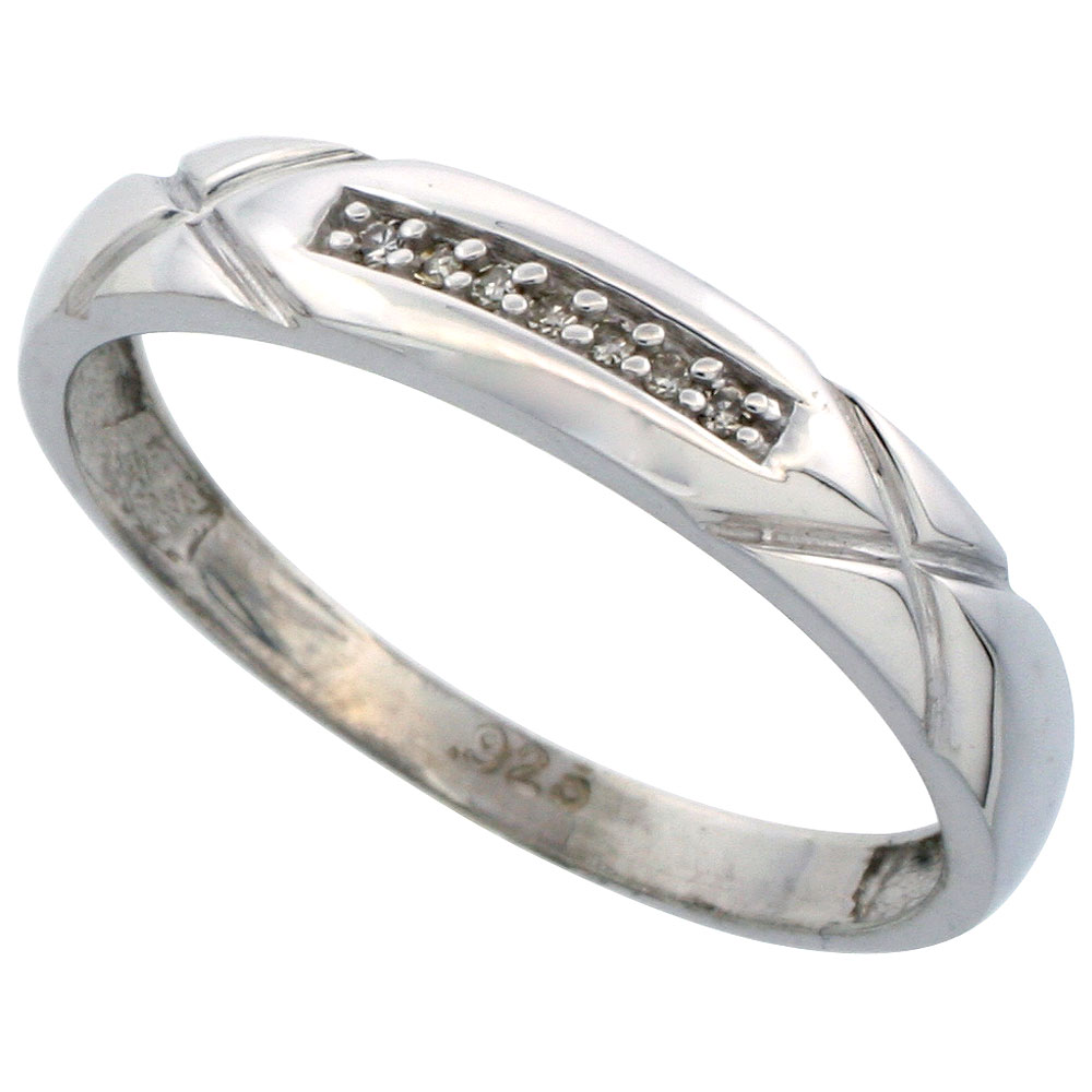 Sterling Silver Mens Diamond Wedding Band Ring 0.04 cttw Brilliant Cut, 3/16 inch 4mm wide