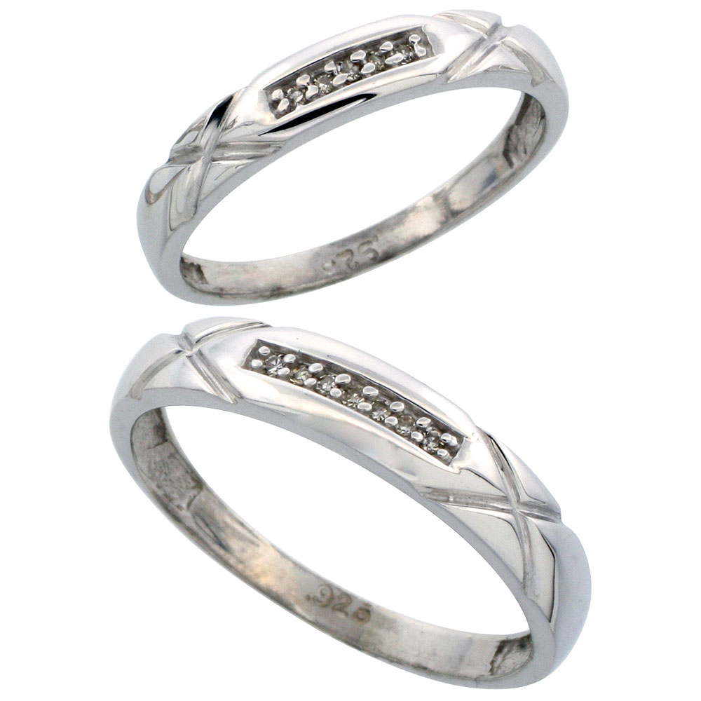 Sterling Silver Diamond Wedding Rings Set for him 4 mm and her 3.5 mm 2-Piece 0.07 cttw Brilliant Cut, ladies sizes 5 ? 10, mens sizes 8 - 14