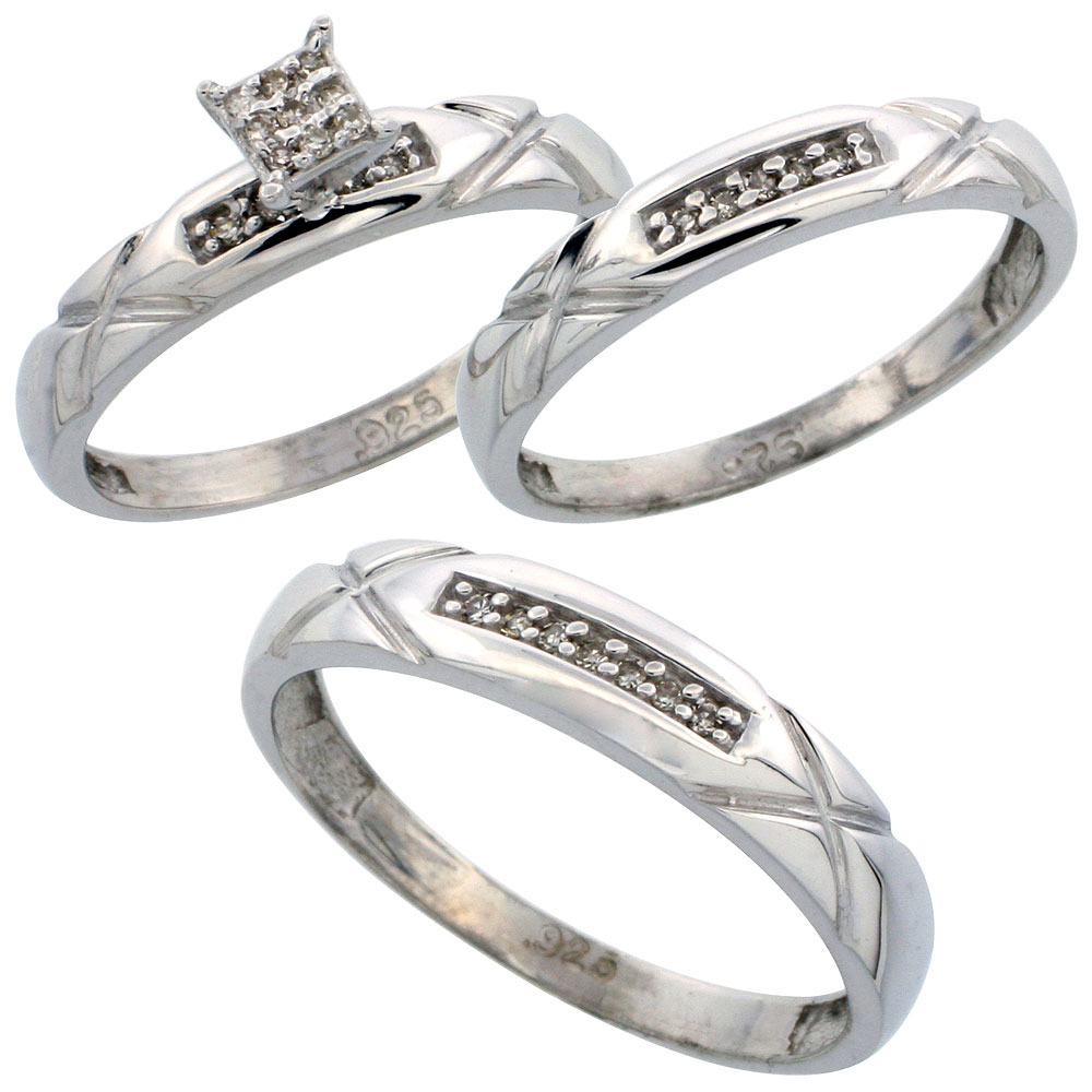Sterling Silver Diamond Trio Engagement Wedding Ring Set for Him and Her 3-piece 4 mm & 3.5 mm wide 0.13 cttw Brilliant Cut, ladies sizes 5 ? 10, mens sizes 8 - 14