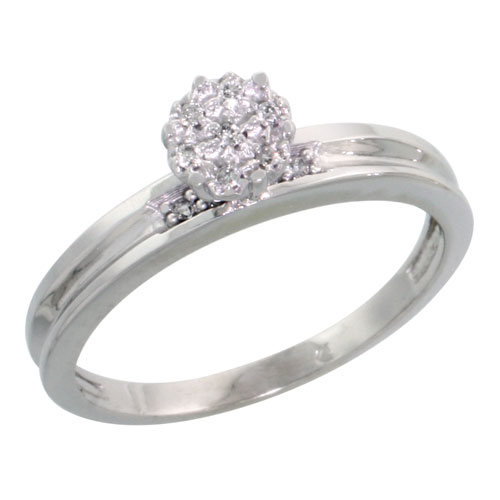 Sterling Silver Diamond Engagement Ring 0.05 cttw Brilliant Cut, 1/8 inch 3mm wide