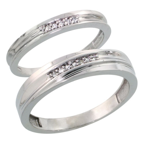 Sterling Silver Diamond Wedding Rings Set for him 5 mm and her 3 mm 2-Piece 0.06 cttw Brilliant Cut, ladies sizes 5 ? 10, mens sizes 8 - 14