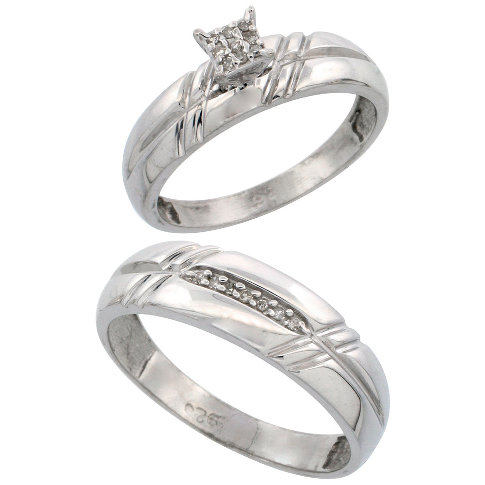 Sterling Silver Diamond Engagement Rings Set for Men and Women 2-Piece 0.10 cttw Brilliant Cut, 5.5mm & 6mm wide