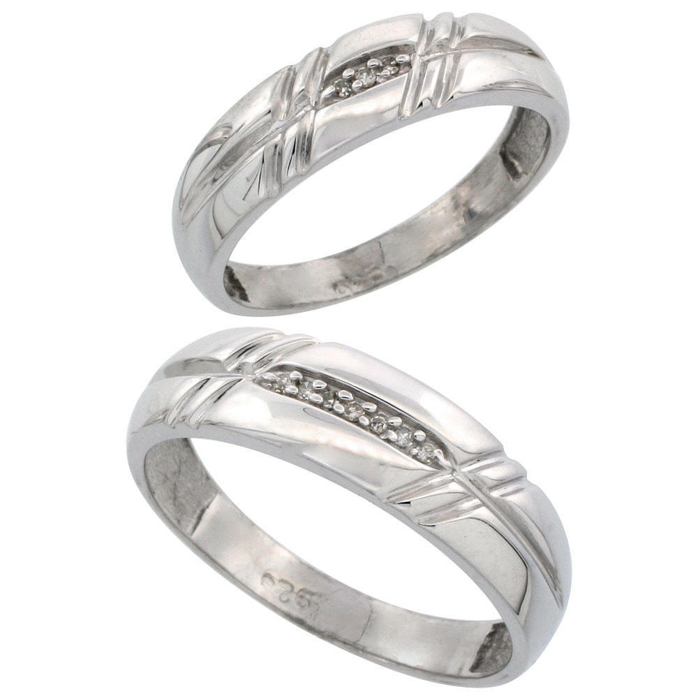 Sterling Silver Diamond Wedding Rings Set for him 6 mm and her 5.5 mm 2-Piece 0.06 cttw Brilliant Cut, ladies sizes 5 ? 10, mens sizes 8 - 14