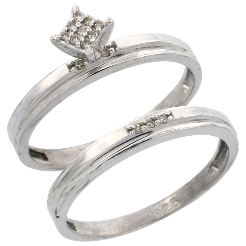 Sterling Silver Diamond Engagement Ring Set 2-Piece 0.07 cttw Brilliant Cut, 1/8 inch 3mm wide