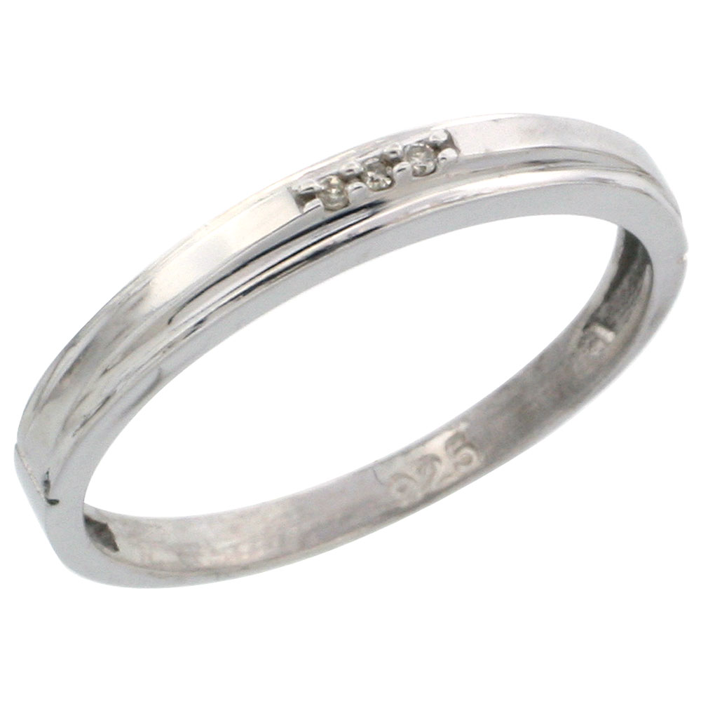 Sterling Silver Ladies Diamond Wedding Band Ring 0.02 cttw Brilliant Cut, 1/8 inch 3mm wide