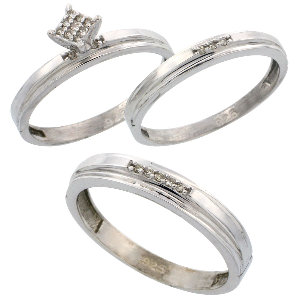 Sterling Silver Diamond Trio Engagement Wedding Ring Set for Him 4mm and Her 3 mm 3-piece 0.10 cttw Brilliant Cut, ladies sizes 5 ? 10, mens sizes 8 - 14