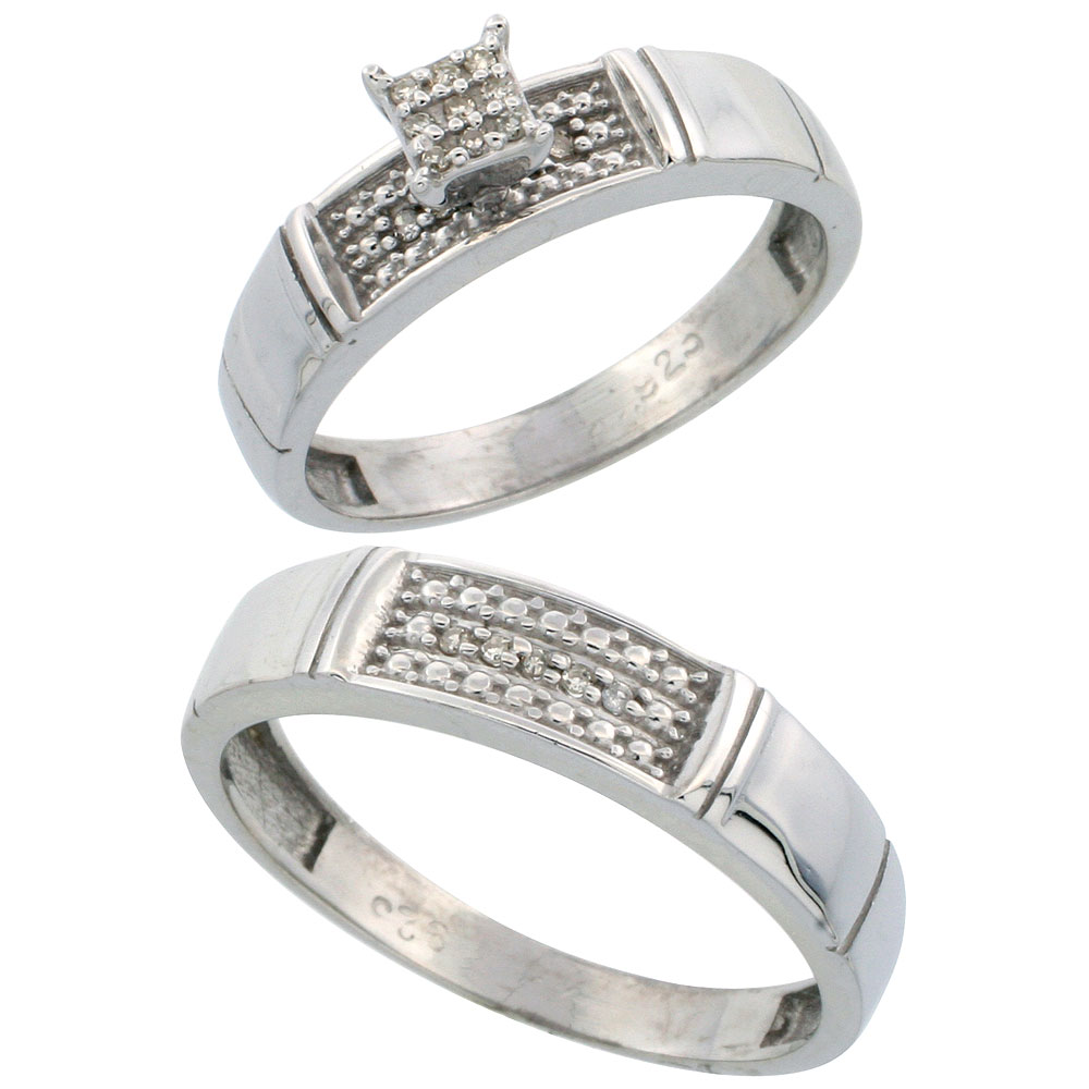 Sterling Silver Diamond Engagement Rings Set for Men and Women 2-Piece 0.10 cttw Brilliant Cut, 4.5mm & 5mm wide