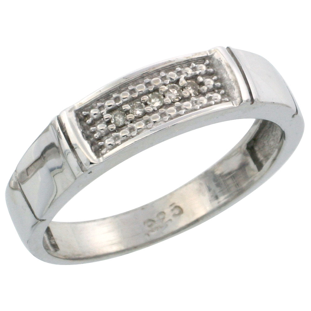 Sterling Silver Ladies Diamond Wedding Band Ring 0.03 cttw Brilliant Cut, 3/16 inch 4.5mm wide