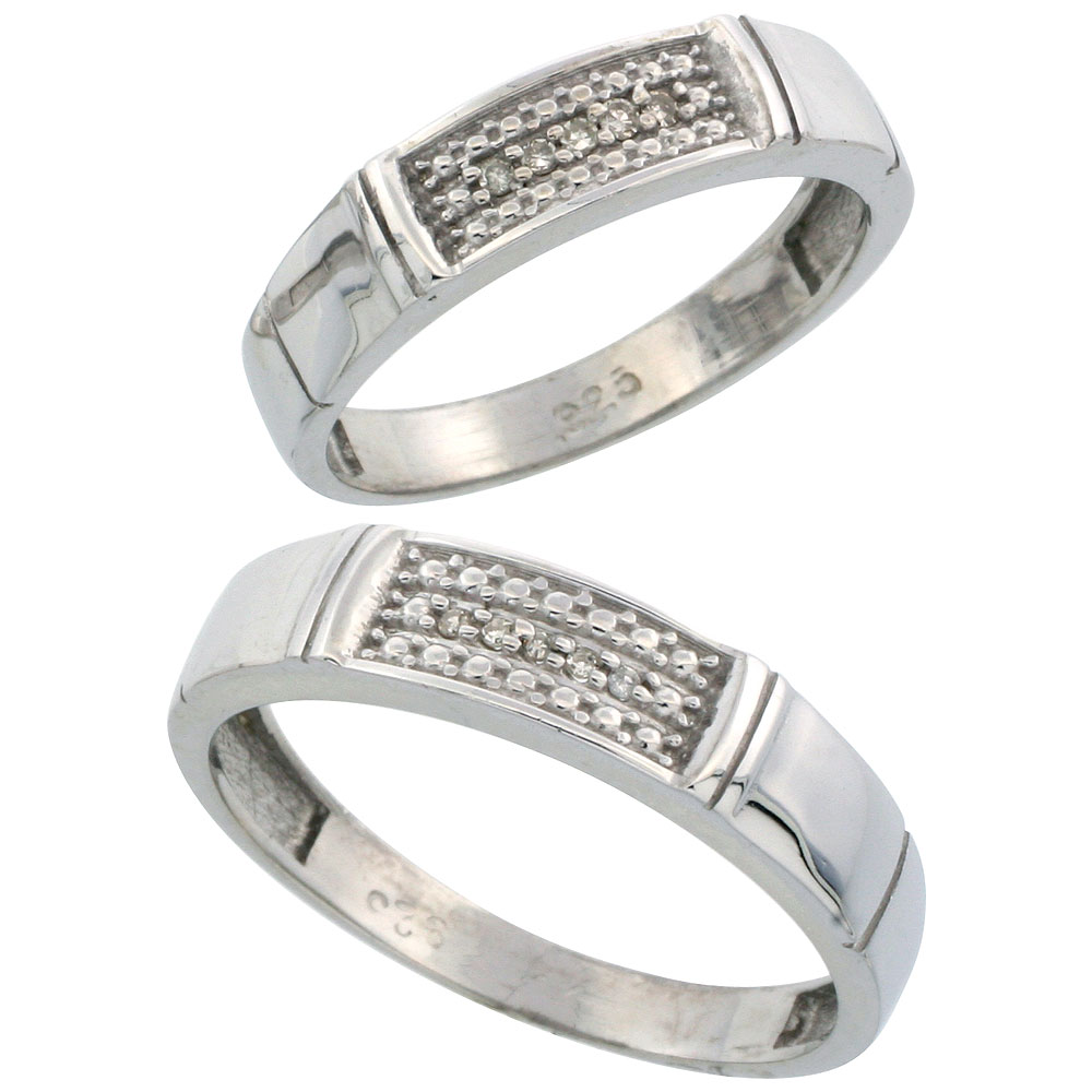 Sterling Silver Diamond Wedding Rings Set for him 5 mm and her 4.5 mm 2-Piece 0.06 cttw Brilliant Cut, ladies sizes 5 ? 10, mens sizes 8 - 14