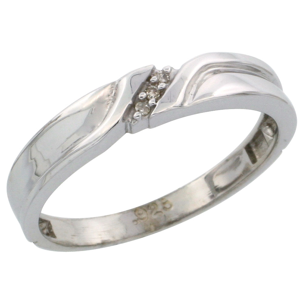 Sterling Silver Ladies Diamond Wedding Band Ring 0.02 cttw Brilliant Cut, 1/8 inch 3.5mm wide