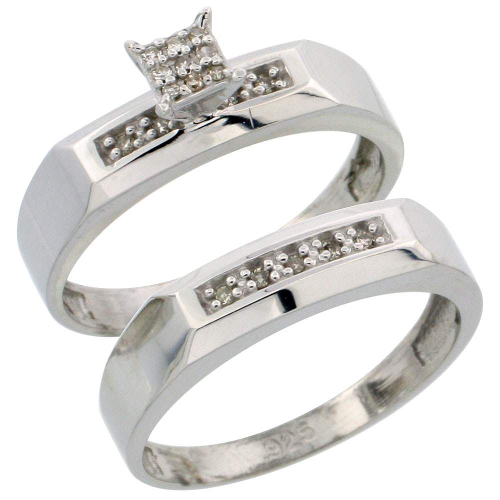 Sterling Silver Diamond Engagement Ring Set 2-Piece 0.10 cttw Brilliant Cut, 3/16 inch 4.5mm wide