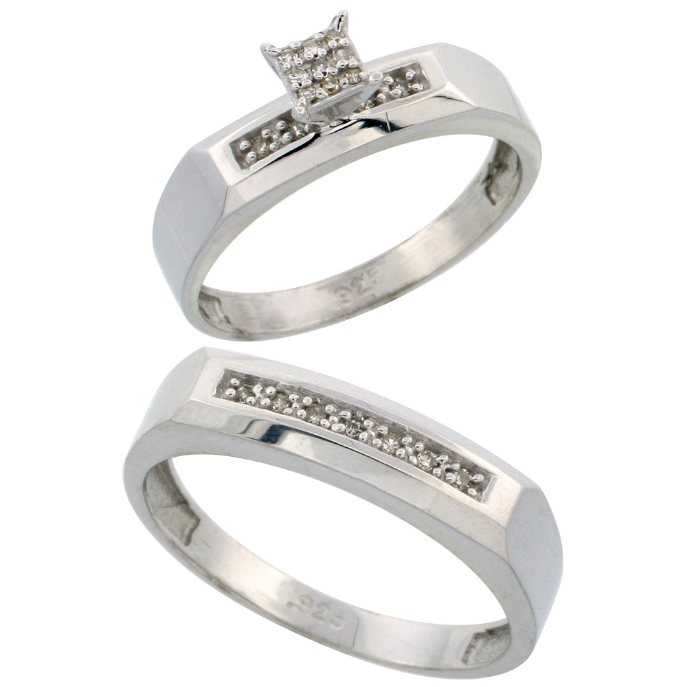 Sterling Silver Diamond Engagement Rings Set for Men and Women 2-Piece 0.11 cttw Brilliant Cut, 4.5mm & 5mm wide