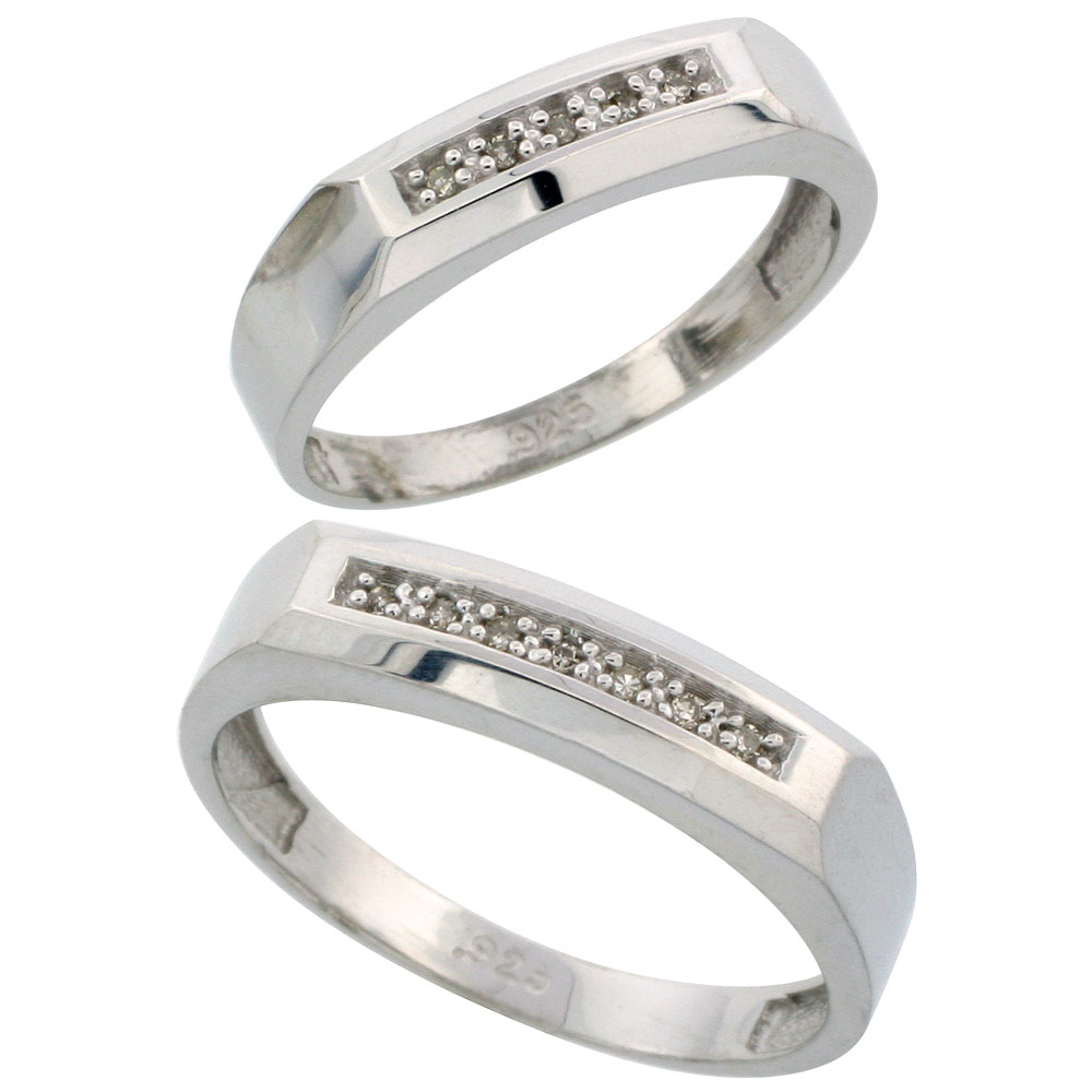Sterling Silver Diamond Wedding Rings Set for him 5 mm and her 4.5 mm 2-Piece 0.07 cttw Brilliant Cut, ladies sizes 5 ? 10, mens sizes 8 - 14