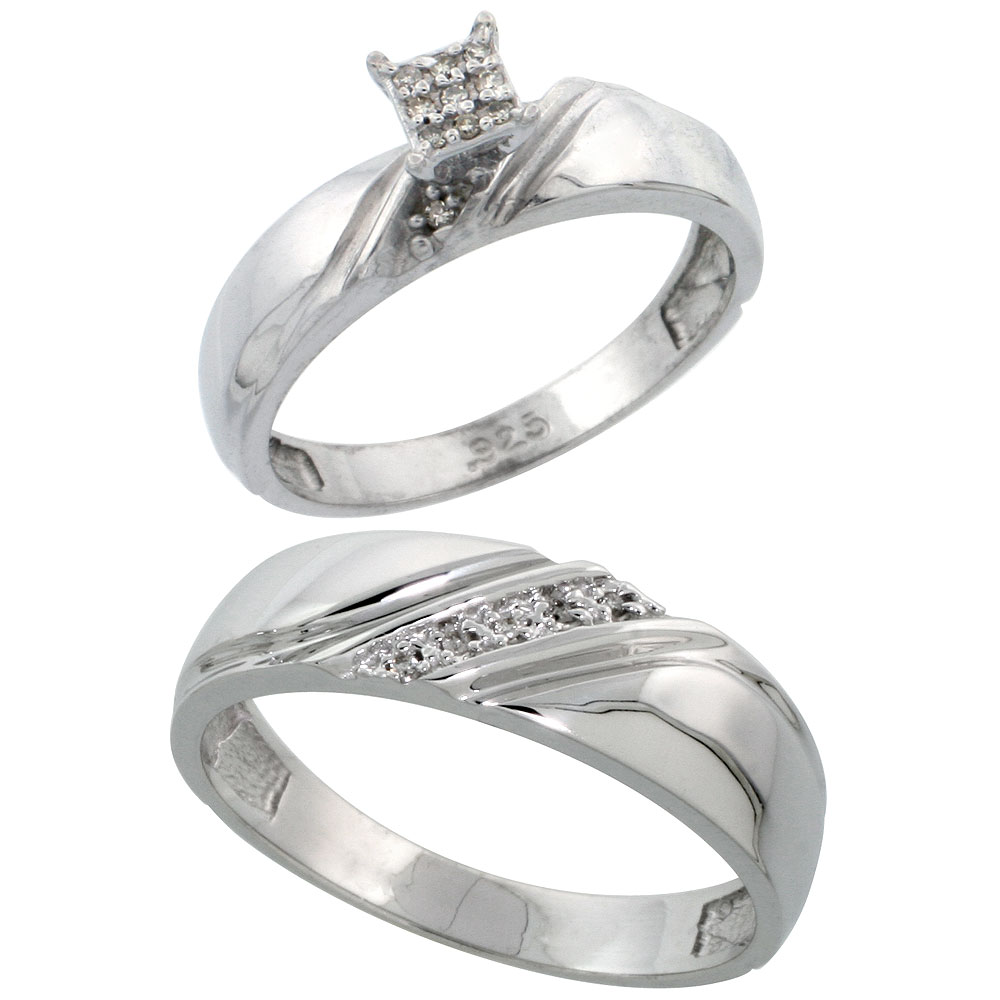 Sterling Silver Diamond Engagement Rings Set for Men and Women 2-Piece 0.08 cttw Brilliant Cut, 4.5mm & 6mm wide