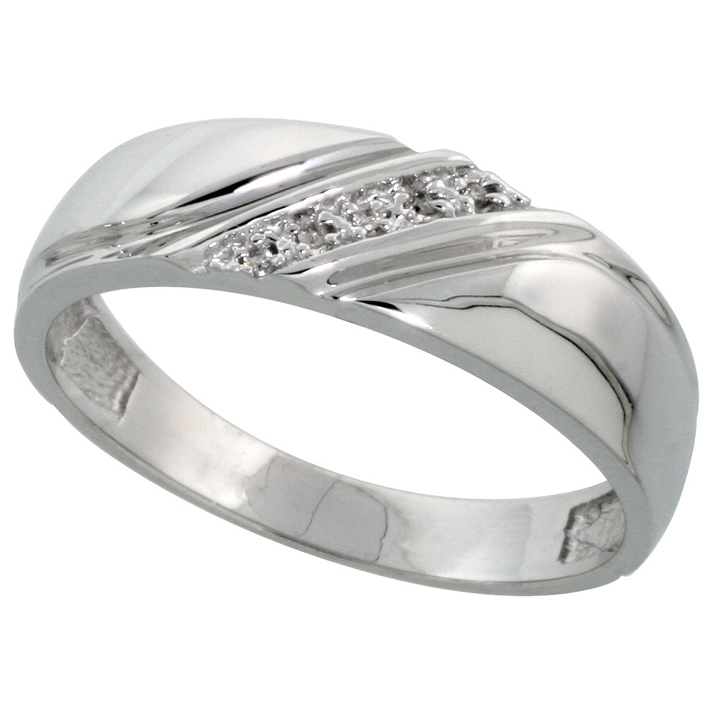 Silver Mens Diamond Wedding Band Ring 003 cttw Brilliant Cut 14