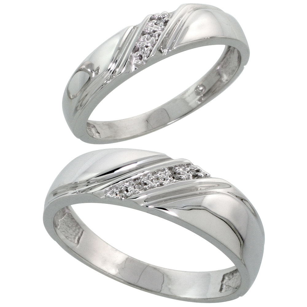 Sterling Silver Diamond Wedding Rings Set for him 6 mm and her 4.5 mm 2-Piece 0.05 cttw Brilliant Cut, ladies sizes 5 ? 10, mens sizes 8 - 14