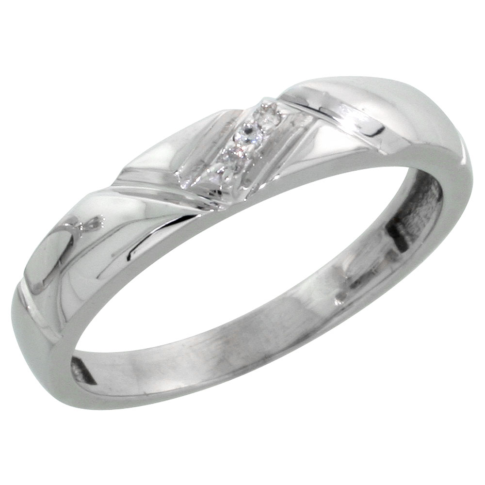 Sterling Silver Ladies Diamond Wedding Band Ring 0.02 cttw Brilliant Cut, 5/32 inch 4mm wide