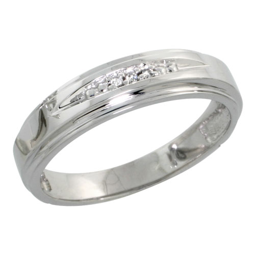 Sterling Silver Ladies Diamond Wedding Band Ring 0.02 cttw Brilliant Cut, 3/16 inch 5mm wide