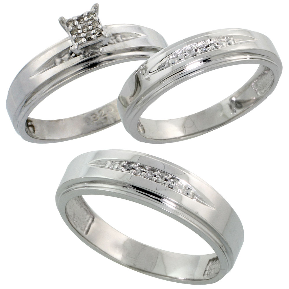 Sterling Silver Diamond Trio Engagement Wedding Ring Set for Him and Her 3-piece 6 mm & 5 mm wide 0.11 cttw Brilliant Cut, ladies sizes 5 ? 10, mens sizes 8 - 14