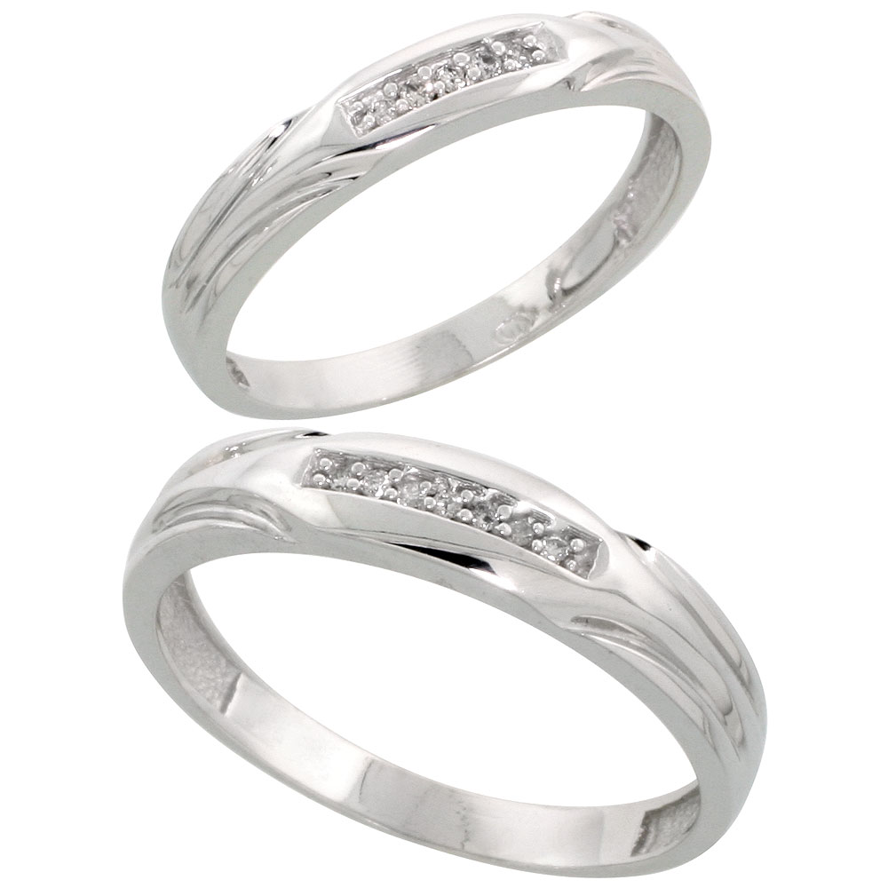 Sterling Silver Diamond Wedding Rings Set for him 4.5 mm and her 3.5 mm 2-Piece 0.07 cttw Brilliant Cut, ladies sizes 5 ? 10, mens sizes 8 - 14
