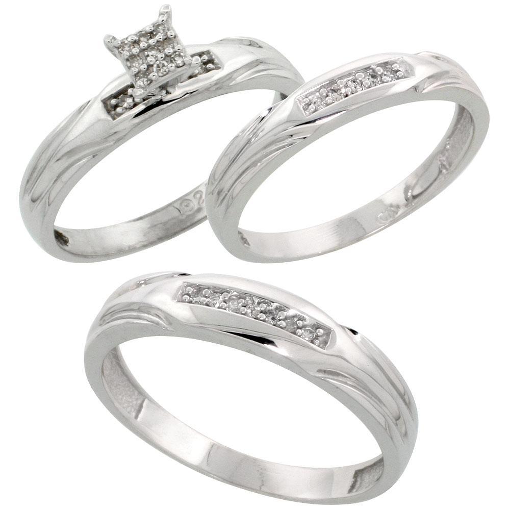 Sterling Silver Diamond Trio Engagement Wedding Ring Set for Him and Her 3-piece 4.5 mm & 3.5 mm wide 0.13 cttw Brilliant Cut, ladies sizes 5 ? 10, mens sizes 8 - 14