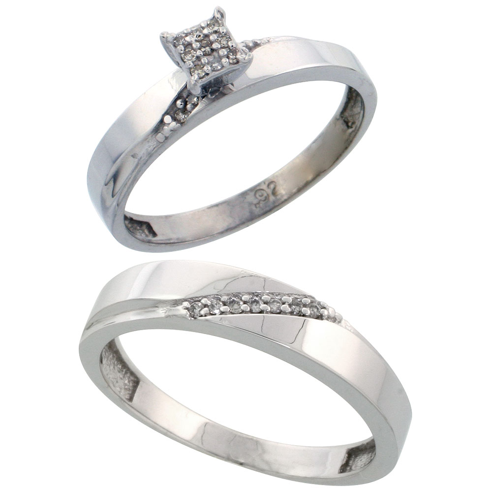 Sterling Silver Diamond Engagement Rings Set for Men and Women 2-Piece 0.10 cttw Brilliant Cut, 3.5mm & 4.5mm wide