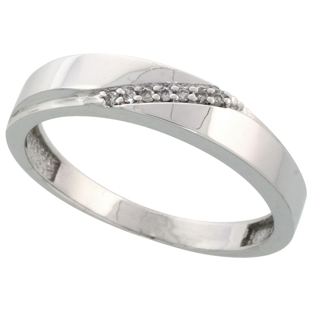 Sterling Silver Mens Diamond Wedding Band Ring 0.04 cttw Brilliant Cut, 3/16 inch 4.5mm wide