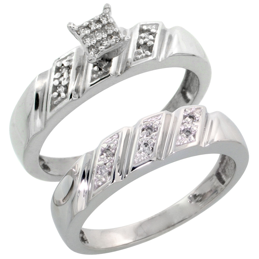 Sterling Silver Diamond Engagement Ring Set 2-Piece 0.10 cttw Brilliant Cut, 3/16 inch 5mm wide