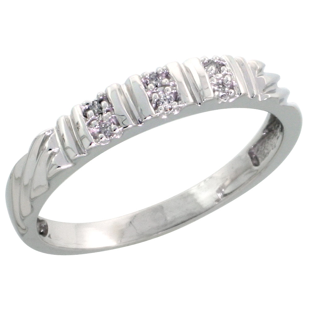 Sterling Silver Ladies Diamond Wedding Band Ring 0.03 cttw Brilliant Cut, 1/8 inch 3.5mm wide