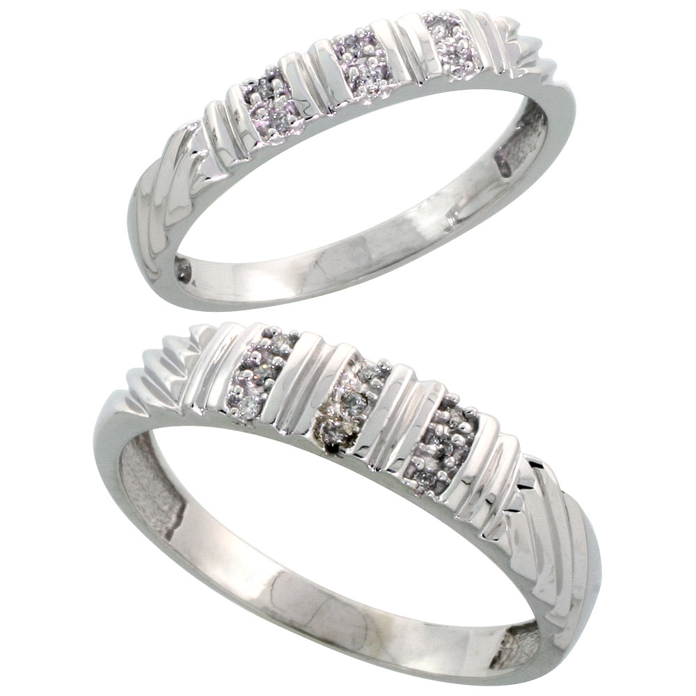 Sterling Silver Diamond Wedding Rings Set for him 5 mm and her 3.5 mm 2-Piece 0.08 cttw Brilliant Cut, ladies sizes 5 ? 10, mens sizes 8 - 14