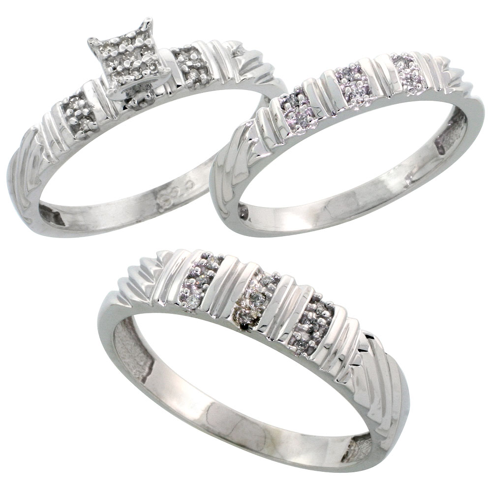Sterling Silver Diamond Trio Engagement Wedding Ring Set for Him and Her 3-piece 5 mm & 3.5 mm wide 0.14 cttw Brilliant Cut, ladies sizes 5 ? 10, mens sizes 8 - 14