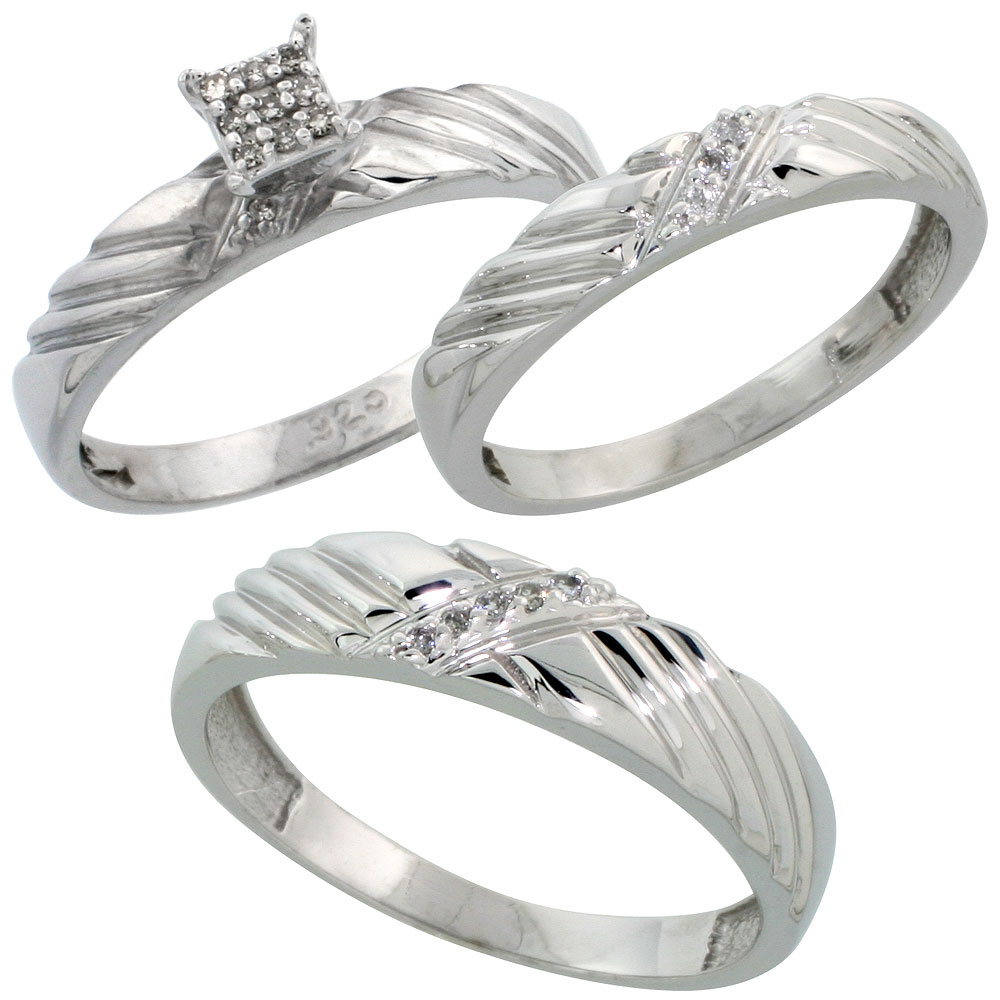Sterling Silver Diamond Trio Engagement Wedding Ring Set for Him and Her 3-piece 5 mm & 3.5 mm wide 0.11 cttw Brilliant Cut, ladies sizes 5 ? 10, mens sizes 8 - 14
