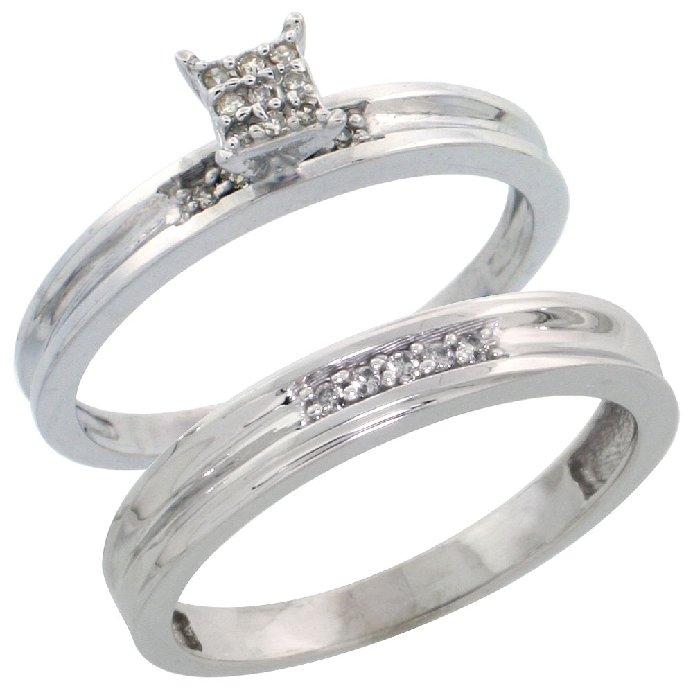 Sterling Silver Diamond Engagement Ring Set 2-Piece 0.09 cttw Brilliant Cut, 1/8 inch 3.5mm wide