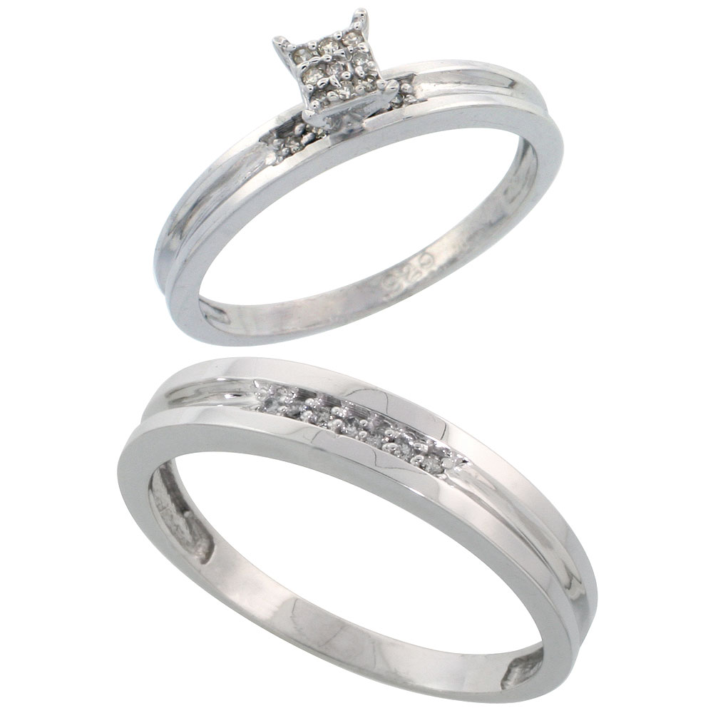Sterling Silver Diamond Engagement Rings Set for Men and Women 2-Piece 0.10 cttw Brilliant Cut, 4 mm & 3.5 mm wide