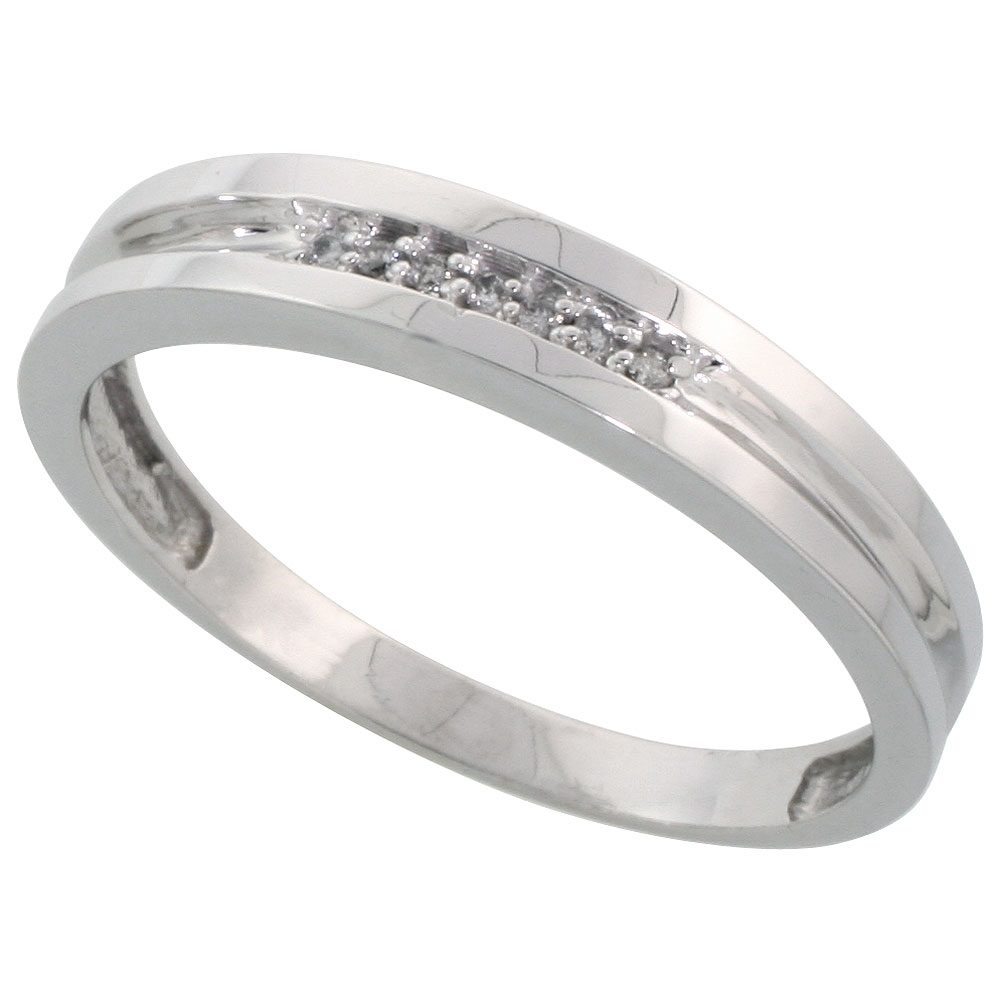 Sterling Silver Mens Diamond Wedding Band Ring 0.04 cttw Brilliant Cut, 5/32 inch 4mm wide