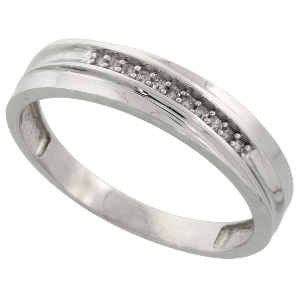 Sterling Silver Mens Diamond Wedding Band Ring 0.04 cttw Brilliant Cut, 3/16 inch 5mm wide