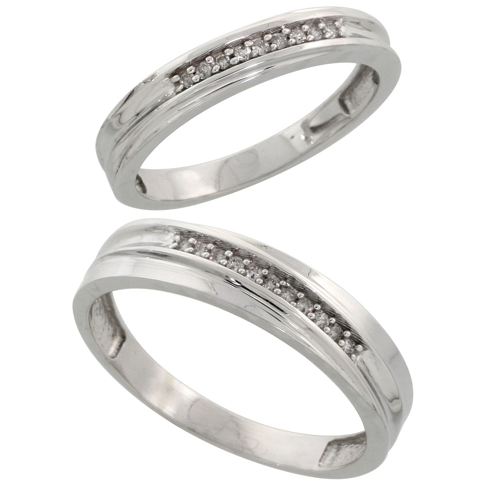Sterling Silver Diamond Wedding Rings Set for him 5 mm and her 3.5 mm 2-Piece 0.07 cttw Brilliant Cut, ladies sizes 5 ? 10, mens sizes 8 - 14
