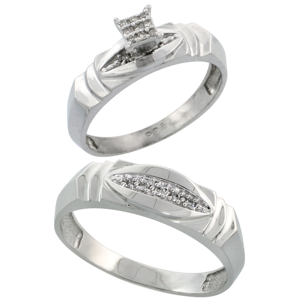 Sterling Silver Diamond Engagement Rings Set for Men and Women 2-Piece 0.07 cttw Brilliant Cut, 5mm & 6mm wide