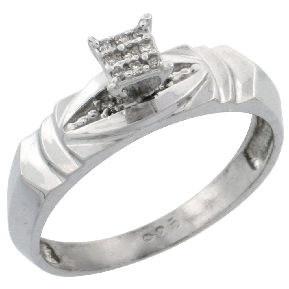 Sterling Silver Diamond Engagement Ring 0.04 cttw Brilliant Cut, 3/16 inch 5mm wide