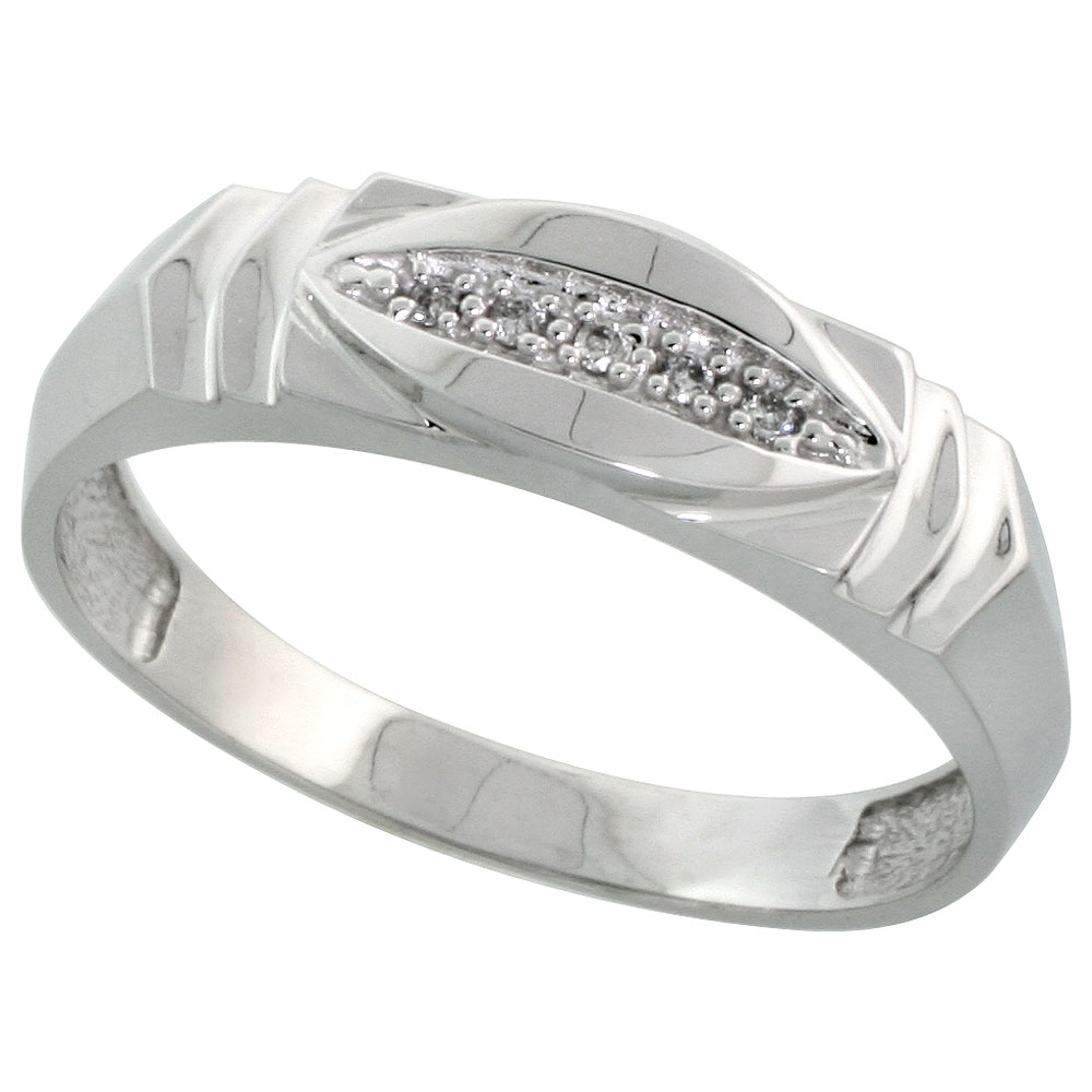 Sterling Silver Mens Diamond Wedding Band Ring 0.03 cttw Brilliant Cut, 1/4 inch 6mm wide