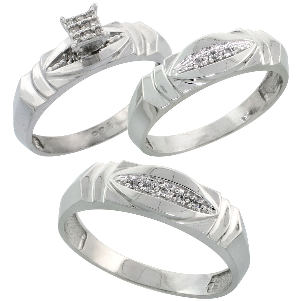 Sterling Silver Trio Engagement Wedding Ring Set for Him and Her 3-piece 6 mm & 5 mm wide 0.09 cttw Brilliant Cut, ladies sizes 5 ? 10, mens sizes 8 - 14