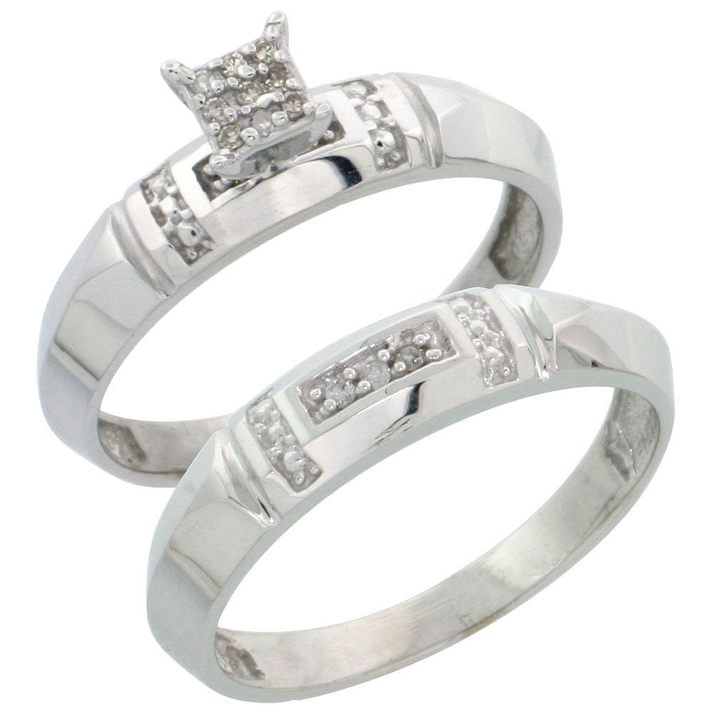 Sterling Silver Diamond Engagement Ring Set 2-Piece 0.07 cttw Brilliant Cut, 5/32 inch 4mm wide