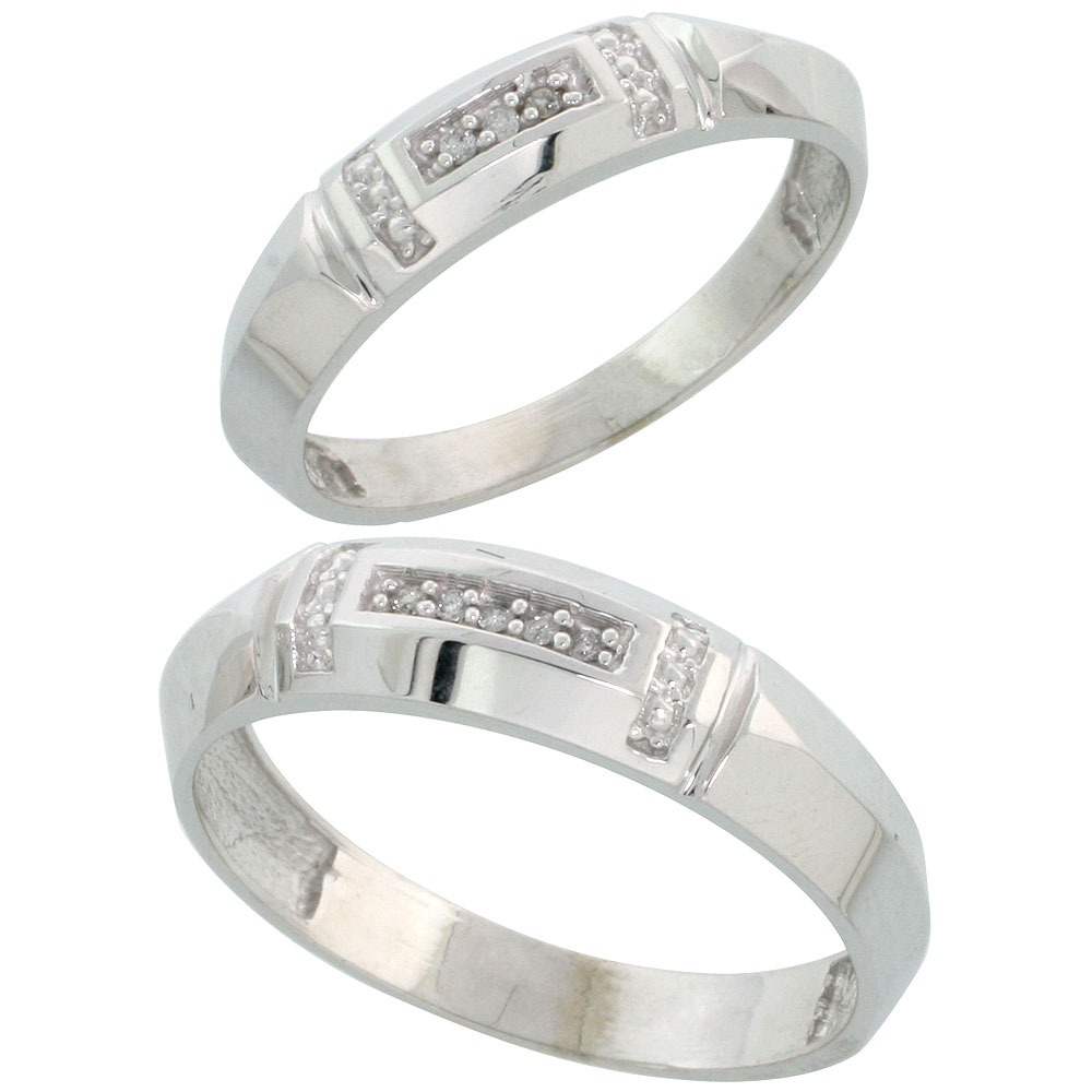 Sterling Silver Diamond Wedding Rings Set for him 5.5 mm and her 4 mm 2-Piece 0.05 cttw Brilliant Cut, ladies sizes 5 ? 10, mens sizes 8 - 14